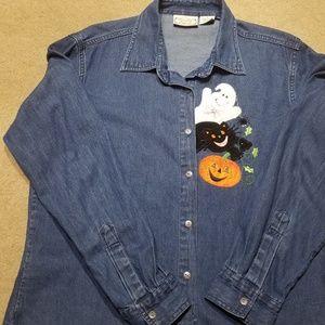 Decorated Originals Large Denim Halloween Shirt